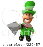Royalty Free RF Clipart Illustration Of A 3d Leprechaun Man Facing Front And Holding An Envelope Out by Julos