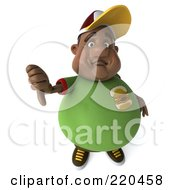3d Chubby Black Burger Man Holding A Thumb Down And Facing Front