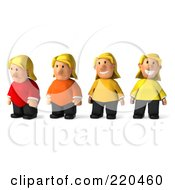 Royalty Free RF Clipart Illustration Of A Digital Collage Of A 3d Overweight Casual Woman Changing From Heavy To Fit
