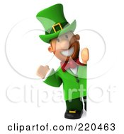 Royalty Free RF Clipart Illustration Of A 3d Leprechaun Man Waving Around A Blank Sign by Julos