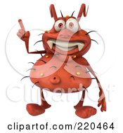 Royalty Free RF Clipart Illustration Of A 3d Rodney Germ Character Facing Front And Gesturing With A Finger