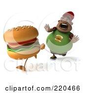 3d Chubby Black Burger Man Running From A Burger - 2