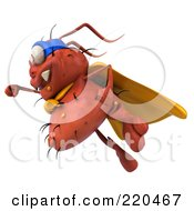 Royalty Free RF Clipart Illustration Of A 3d Rodney Germ Super Hero Flying To The Left