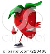 Royalty Free RF Clipart Illustration Of A 3d Strawberry Holding A Thumbs Up Around A Blank Sign