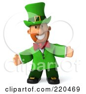 Royalty Free RF Clipart Illustration Of A 3d Leprechaun Man Facing Front And Welcoming by Julos
