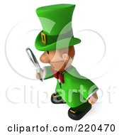 Royalty Free RF Clipart Illustration Of A 3d Leprechaun Man Facing Left And Using A Magnifying Glass by Julos