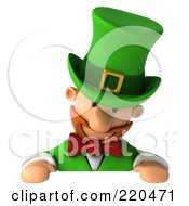 Royalty Free RF Clipart Illustration Of A 3d Leprechaun Man Looking Down At A Blank Sign by Julos