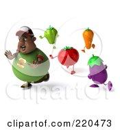 3d Chubby Black Burger Man Running From Veggies - 2
