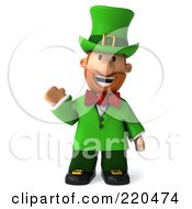 Royalty Free RF Clipart Illustration Of A 3d Leprechaun Man Facing Front And Waving by Julos