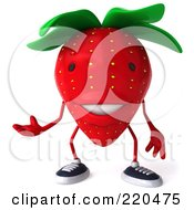 Royalty Free RF Clipart Illustration Of A 3d Strawberry Facing Front And Gesturing