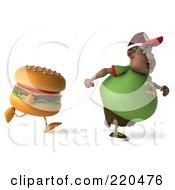 3d Chubby Black Burger Man Running From A Burger - 1