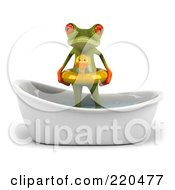 Royalty Free RF Clipart Illustration Of A 3d Springer Frog Standing In A Tub With An Inner Tube