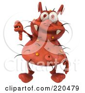 Royalty Free RF Clipart Illustration Of A 3d Rodney Germ Character Facing Front And Holding A Thumb Down