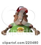 3d Chubby Black Burger Man Holding A Blank Sign - 1