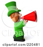 Royalty Free RF Clipart Illustration Of A 3d Leprechaun Man Facing Right And Using A Megaphone by Julos