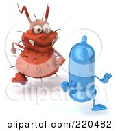 Royalty Free RF Clipart Illustration Of A 3d Rodney Germ Character Chasing A Blue Condom 1