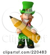 Royalty Free RF Clipart Illustration Of A 3d Leprechaun Man Facing Front And Holding A Pencil by Julos