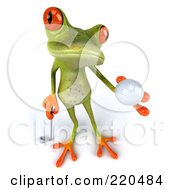 Royalty Free RF Clipart Illustration Of A 3d Springer Frog Holding Up A Golf Ball