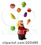 Royalty Free RF Clipart Illustration Of A 3d Overweight Casual Woman Facing Right And Looking Up At Floating Produce