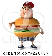 Royalty Free RF Clipart Illustration Of A 3d Burger Body Man Facing Front And Holding A Thumb Down 1 by Julos