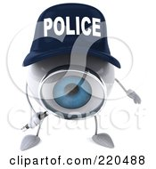 Royalty Free RF Clipart Illustration Of A 3d Blue Police Eyeball Character Using A Magnifying Glass 1