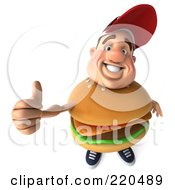 Royalty Free RF Clipart Illustration Of A 3d Burger Body Man Facing Front And Holding A Thumb Up by Julos