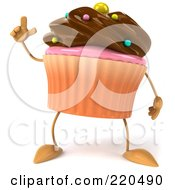 Royalty Free RF Clipart Illustration Of A 3d Chocolate Frosted Cupcake With An Idea