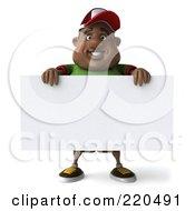 3d Chubby Black Burger Man Holding A Blank Sign - 2