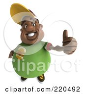 3d Chubby Black Burger Man Holding A Thumb Up And Facing Front