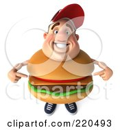Royalty Free RF Clipart Illustration Of A 3d Burger Body Man Facing Front And Pointing At Himself