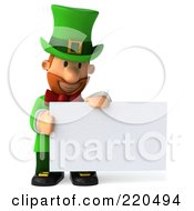 Royalty Free RF Clipart Illustration Of A 3d Leprechaun Man Holding And Looking Down At A Blank Sign by Julos