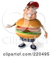 Royalty Free RF Clipart Illustration Of A 3d Burger Body Man Facing Front And Gesturing by Julos