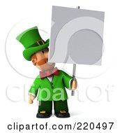 Royalty Free RF Clipart Illustration Of A 3d Leprechaun Man Looking Up At A Blank Sign by Julos