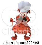 Royalty Free RF Clipart Illustration Of A 3d Chef Rodney Germ Character Facing Front And Holding A Thumb Down