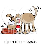 Clipart Illustration Of A Happy And Hungry Brown Dog Wagging His Tail And Slobbering In His Food Bowl
