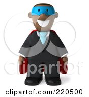 Royalty Free RF Clipart Illustration Of A 3d Black Business Man Super Hero Facing Front by Julos