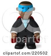 Royalty Free RF Clipart Illustration Of A 3d Black Business Man Super Hero Pouting And Facing Front by Julos