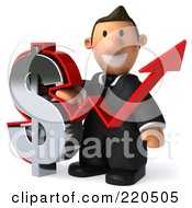 Royalty Free RF Clipart Illustration Of A 3d Business Toon Guy With A Dollar Symbol And Arrow 1