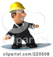 Royalty Free RF Clipart Illustration Of A 3d Male Architect Surfing On A Board