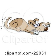 Clipart Illustration Of A Playful Brown Dog Wagging His Tail And Chewing On A Bone While Laying Down