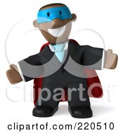 Royalty Free RF Clipart Illustration Of A 3d Black Business Man Super Hero With Open Arms Facing Front by Julos