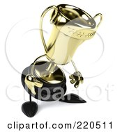 Royalty Free RF Clipart Illustration Of A 3d Gold Trophy Character Facing Right And Pouting