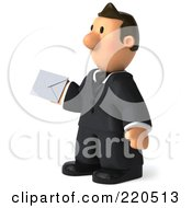Royalty Free RF Clipart Illustration Of A 3d Business Toon Guy Facing Left And Holding An Envelope by Julos
