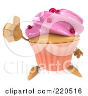 Royalty Free RF Clipart Illustration Of A 3d Strawberry Frosted Cupcake Facing Front And Holding A Thumbs Up
