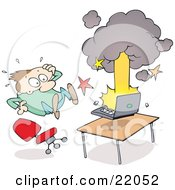 Clipart Illustration Of A Surprised Man Leaping Back From His Exploding And Smoking Laptop Computer