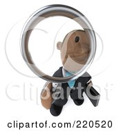 Royalty Free RF Clipart Illustration Of A 3d Black Business Man Looking Up And Inspecting With A Magnifying Glass