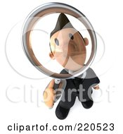 Royalty Free RF Clipart Illustration Of A 3d Business Toon Guy Pouting Through A Magnifying Glass