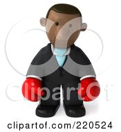 Royalty Free RF Clipart Illustration Of A 3d Black Business Man Wearing Boxing Gloves And Pouting by Julos