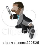 Royalty Free RF Clipart Illustration Of A 3d Black Business Man Facing Left And Inspecting With A Magnifying Glass