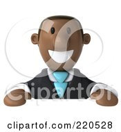 Royalty Free RF Clipart Illustration Of A 3d Black Business Man Smiling Over A Blank Sign by Julos